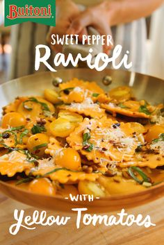 What's better than Sweet Pepper Ravioli with Yellow Tomatoes? When it's paired with a rich garlic, Parmesan cheese and basil sauce. Transform your next meal with an authentic Italian taste, but still keep it quick & easy.