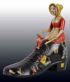 Super-rare Old Woman in the Shoe mechanical bank headlines Morphys April sale Metal Toys, Tin Toys, Antique Toys, Vintage Toys, Puppet Toys, Puppets, Vintage Children, Old Women, Kids Playing