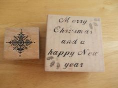 2 X CHRISTMAS WOODEN BACKED RUBBER STAMP