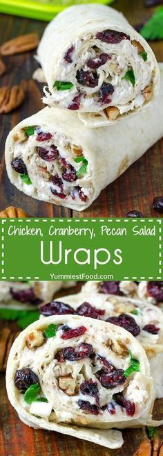 Chicken, Cranberry, Pecan Salad Wraps - a super lunch or wonderful addition! This salad is perfect for any occasion and very easy to make. Chicken, Cranberry, Pecan Salad Wraps - delicious and satisfy (Chicken Dishes For Lunch) Lunch Snacks, Lunch Recipes, Healthy Snacks, Cooking Recipes, Easy Recipes, Dinner Healthy, Healthy Chicken Wraps, Healthy Wrap Recipes, Healthy Lunch Wraps