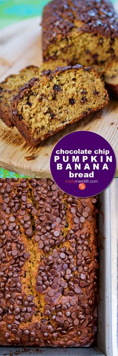 Chocolate Chip Pumpkin Banana Bread. Enjoy this favorite recipe for breakfast, brunch, snacks, dessert & lunch boxes! MarlaMeridith.com ( @marlameridith )
