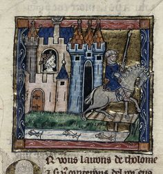 Royal 14 e iii, knight riding away from a castle, watched by king Evalac.