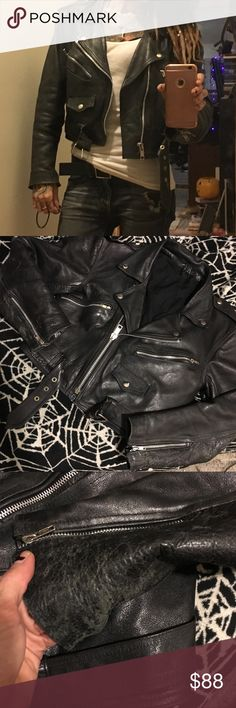 Vintage Leather Moto Jacket sz Small Vntage leather moto jacket - sz Small. Very worn in- shown in photos. No hassle w breaking in tough leather as it's already done :) Plenty of pockets - ties in the back to adjust fit. Super cute jacket!! Also on D pop for less w shipping included in price. No trades. Price firm. Xx tags killstar lip service disturbia unif happy Monday straight to Hell goth punk grunge current mood omighty lazy oaf wild fox urban outfitters free people widow house of widow…