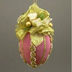 Fuschia and Roses Fabric Egg - Easter Egg Ornaments
