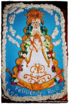 Tarta de la Virgen del Rocío - Bizcocho ligero, relleno de Nata-Oreo, exterior ganaché de chocolate blanco http://nam-nam-recetas.blogspot.com.es/2014/03/virgen-del-rocio-bizcocho-ligero.html