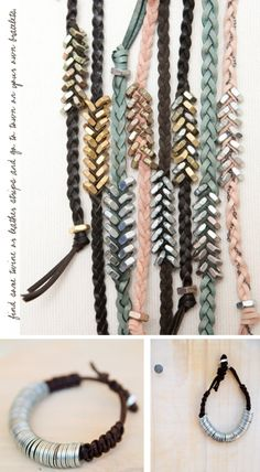 DIY leather braid bracelets (using some nuts from the hardware store!)