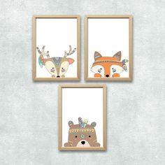 Wald Tiere Set Kunstdruck A4 Bär Fuchs Reh Tribal Kinderzimmer Deko Bild Druck