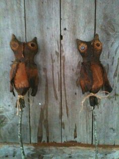 Extreme BlaCk Prim  Fall Grungy Owl Primitive Folk Art Pokes Vintage Linen #NaivePrimitive