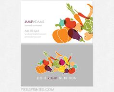 nutritionist business cards, personal chef business cards, healthy chef business…