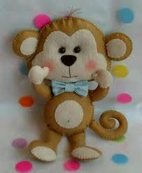 peluche, manualidades, and cute image Felt Christmas, Handmade Christmas, Diy Craft Projects, Sewing Projects, Monkey Crafts, Felt Crafts Patterns, Felt Banner, Felt Decorations, Adult Crafts
