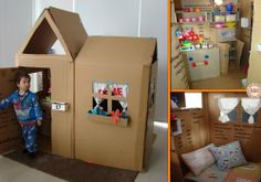"""Our kids would never leave this playhouse made from recycled boxes. How about yours? Want to keep the little ones busy this weekend? Then head over to our """"Ideas for Kids"""" album for more fun projects http://theownerbuildernetwork.co/easy-diy-projects/ideas-for-kids/"""