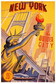 New York, the Wonder City ~ vintage travel brochure cover with the Statue of Liberty