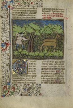 Archer shooting at deer. France, 1430 - 1440
