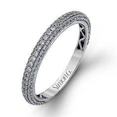 Shop online SIMON G LP1973B Diamond Pave Set 18K - White Gold Womens Wedding bands  at Arthur's Jewelers. Free Shipping