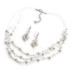 3 Strand Pearl & Crystal Set
