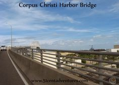 This bridge rises to a height of 243 feet above the shipping channel of Corpus Christi.  The clearance under the bridge is 138 feet. There are a total of six lanes of traffic that cross the bridge.  If you are brave you can cross the bridge using the pedestrian walkway that is squeezed in alongside the guard rail.