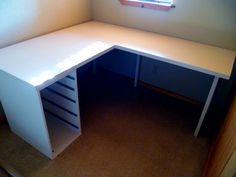 DIY Shape Desk (desk plans) diy Desk Designs plans, Floating Desk, Computer D. Computer Desk Design, Big Desk, Ikea Desk, Floating Desk, Desk Plans, L Shaped Desk, New Shape, Apartment Design, Furniture Makeover
