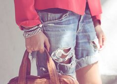 These shredded shorts contain the most delicate jeweled details. DIY genius!