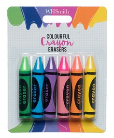 WHSmith Colourful Crayon Erasers (Pack of 6) | WHSmith