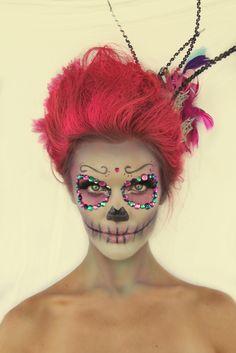 Halloween Makeup, Sugar Skull, www.Sunkissedandmadeup.com #halloweenmakeup #sugarskull