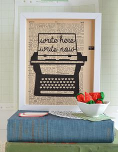 """Searching for the perfect gift for a writer, reader or other literary genius? This papercut art features a vintage typewriter illustration and the gentle reminder of """"Write here, write now"""" reminds us"""
