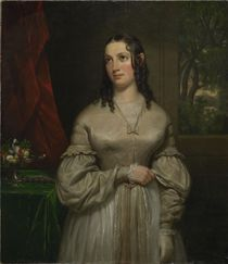 Oil portrait of Julia Tyler, second wife of John Tyler, attributed to Cephus Giovanni Thompson, about 1840