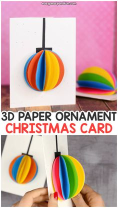 DIY Paper Ornament Christmas Card Idea - Easy Peasy and Fun - Christmas arts and crafts Paper Christmas Ornaments, 3d Christmas, Diy Christmas Gifts, Handmade Christmas, Kids Christmas Cards, Ornaments Ideas, Christmas Items, Christmas Projects, Christmas Crafts For Kids To Make