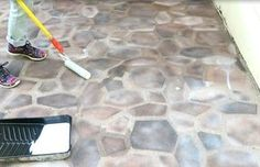 Fake a beautiful stone patio for just $50 I want to paint a hopscotch on our driveway.