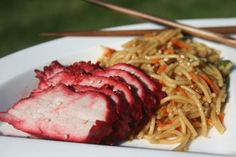 Chinese Barbecued Pork from Food.com:   I got this recipe from Cooking Class Chinese Cookbook. This recipe tastes exactly like the pork in Chinese restaurants. My family loved it. I used it in my recipe for Pork Lo Mein.  The meat was so tender and juicy. I baked mine for 45 minutes and didn't baste it at all, I was busy cooking other Chinese food.