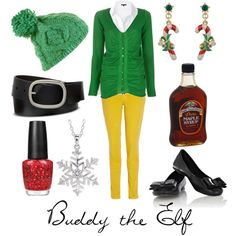 "@Cassie Bass, please wear this on Christmas morning.  Thank you.  ""Buddy the Elf"" by character-inspired-style on Polyvore"