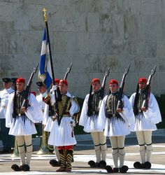 Evzones .  The  presidential guards in  front of the Parliament, Athens  -  Greece .freetourathensdotcom