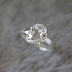 Vintage Inspired Handmade Engagement Ring,  Milgrain White Topaz Ring in Sterling Silver, Made To Order