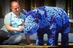 Rhino made of 1,200 cornflowers comes out of the blue #bluerhino  #rhinospotting