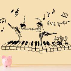 pianoforte pianoforte musica note lillipuziano adesivi murali decorazione della parete adesivi