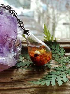 Terrarium Necklace, raw amber necklace , glass bottle pendant , elegant,hand made,woodland Necklace,gift for her,boho necklace,glass pendant by BUSTANI on Etsy