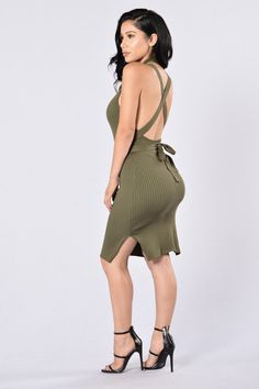 - Available in Olive and Taupe - Scoop Neckline - Midi Length - Tie Detail - Ribbed - 100% Polyester