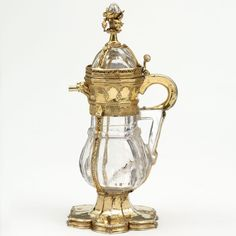 Rock crystal ewer, with silver-gilt and enamel mounts, France, probably Paris, 1340–50