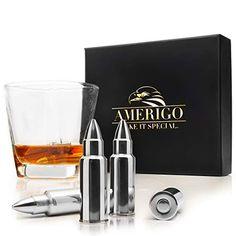 Amerigo Ensemble de Cadeaux Pierre a Whisky Carafe Whisky Coffret Cadeau Homme Cadeau Papa 2 sous-Verres de 8 Glacon Granit Coffret en Bois Artisanal avec Un 2 Verre a Whisky