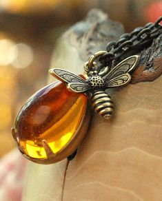 Honey Bee Necklace with drop of honey. No, really.  It is.