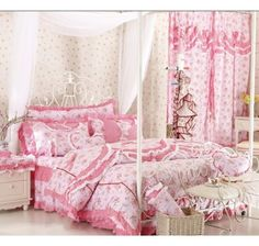 Beautiful Red Pink With Flower Girls Ruffle Bowtie Lace Bedding