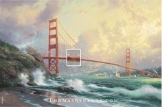 """Did you know there are hidden N's in most of Thom's paintings? The """"N"""" stands for Thom's lovely wife Nanette, and the number of N's in each painting are indicated below the signature in the lower left or right corner. (If you look closely, you can see the Golden Gate Bridge is made up of hidden N's!) Do you see them?"""
