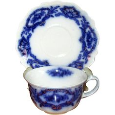 English Flow Blue 'Alaska' Teacup with Saucer www.rubylane.com #redtagsale #antiques #vintage #cupandsaucer #teacup #porcelain #collectible