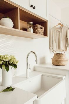 farmhouse laundry room with natural wood penny tile and laundry sink farmhouse mudroom with laundry area bohobathroom farmhouse laundry room with natu… – Mudroom Laundry Room Sink, Farmhouse Laundry Room, Small Laundry Rooms, Laundry Room Organization, Laundry Area, Laundry Shelves, Small Shelves, Storage Shelves, Laundry Station