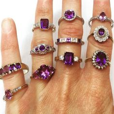 We have so many stunning amethyst and diamond rings in stock, both 9ct and 18ct, White and yellow gold! All listed and available now!