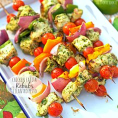 Chicken Fajita Kebabs with Cilantro Pesto - The Cookie Rookie healthy and easy food on the grill. #skinny girl