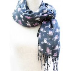 Charcoal Owl Print Scarf for Women Owl Print, Womens Scarves, Charcoal, Jewellery, Accessories, Fashion, Moda, Jewels, Fashion Styles