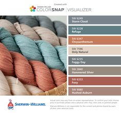I found these colors with ColorSnap® Visualizer for iPhone by Sherwin-Williams: Storm Cloud (SW Refuge (SW Chrysanthemum (SW Only Natural (SW Foggy Day (SW Hammered Silver (SW Foxy (SW Hushed Auburn (SW Bathroom Paint Colors, Interior Paint Colors, Paint Colors For Home, Orange Paint Colors, Exterior House Colors, Exterior Paint, Exterior Design, Room Colors, Wall Colors