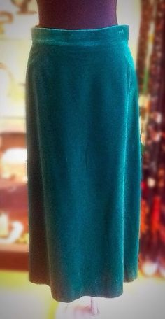 Vintage Clarissa 1970s Green Velvet Lined Maxi Skirt UK M