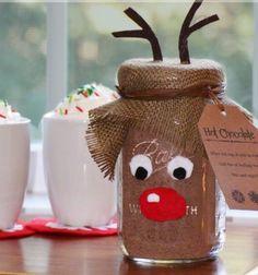 Rudolph reindeer mason jar - hot cocoa christmas gift / Rénszarvas Rudolfos forró csoki - kakaó csomagolás befőttes üvegből egyszerűen / Mindy -  creative craft ideas
