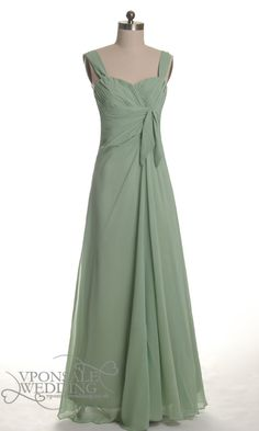 Long Green Bridesmaid Gown with Straps DVW0081 | VPonsale Wedding Custom Dresses